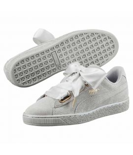 Chaussures Puma Suede Heart Satin Classic Gris Do You