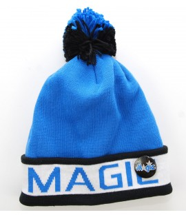 MITCHELL & NESS Bonnet Pompon ORLANDO MAGIC Bleu - Noir Block Cuff NBA avec Pin's