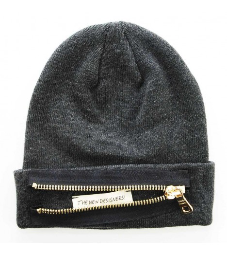 Bonnet Zip THE NEW DESIGNERS Gris foncé Gold