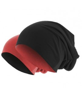 Bonnet Reversible Jersey Noir - Rouge clair MASTERDIS Beanie Stretch