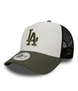 Casquette Trucker New Era Los Angeles Dodgers Olive Blanc Filet
