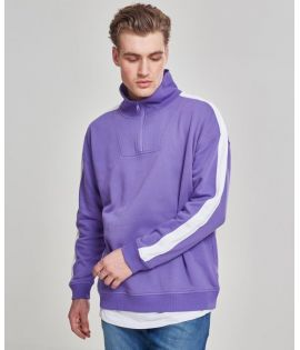 Oversize Sweat Shoulder Stripe Troyer ultraviolet/white L