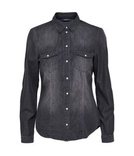 Chemise Femme Only Rock It Shirt Denim Gris