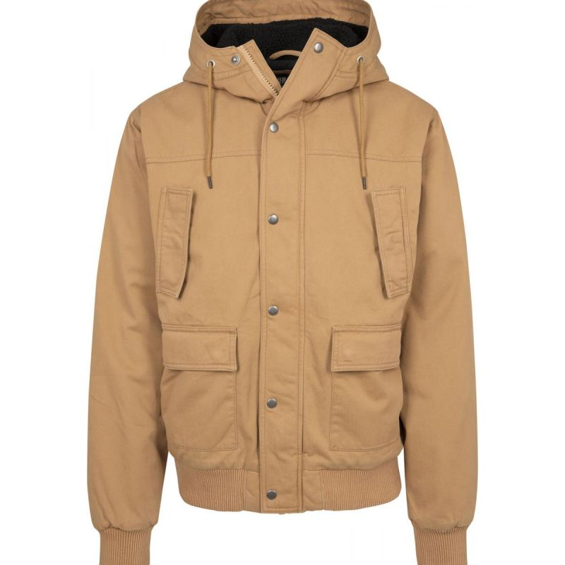 Urban Classics Hooded Veste Cotton Camel Jacket PdwqgHq