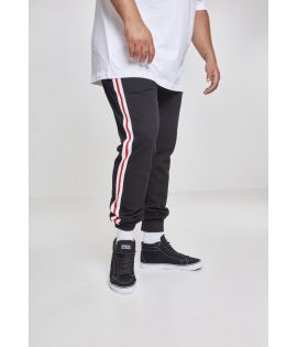 3-Tone Side Stripe Terry Pants blk/wht/firered 3XL