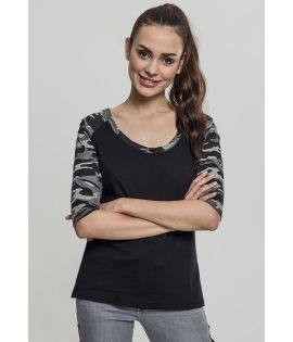 Ladies 3/4 Contrast Raglan Tee black/darkcamo 3XL