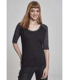 Ladies 3/4 Contrast Raglan Tee black/charcoal 3XL