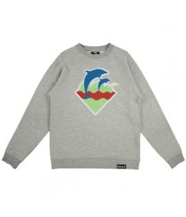 Sweat Crewneck Pink Dolphin Spring Waves Gris