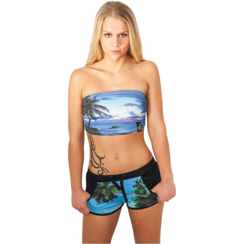 Top Bandeau Court Urban Dance Blue Hawaii Jersey Stretch
