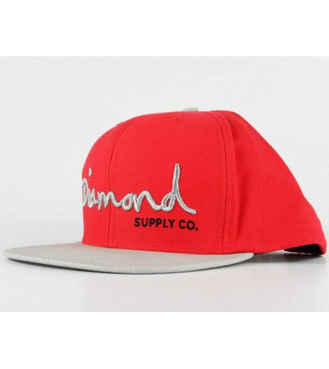 DIAMOND SUPPLY Snapback Script Logo Rouge Gris Casquette
