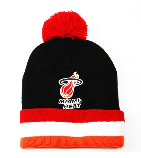MITCHELL & NESS Bonnet Pompon MIAMI HEAT Noir - Gold Metallic NBA