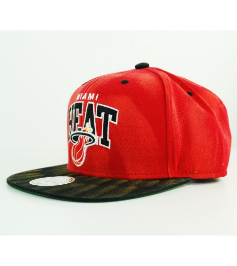 Casquette Mitchell & Ness Miami Heat Rouge - Noir Snapback Cycle