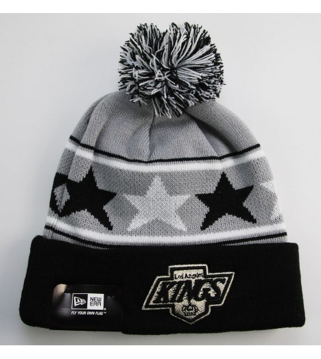 Bonnet New Era LA Kings Gris - Noir Pommy Star