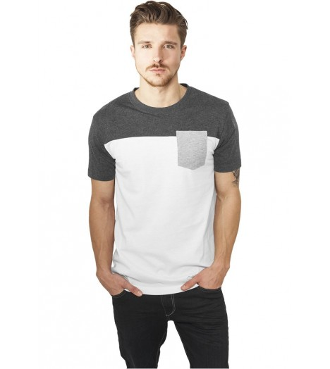 Pocket T-shirt Urban Classics Blanc Gris
