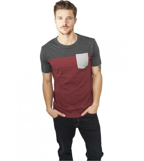 Pocket T-shirt Urban Classics Bordeaux Gris