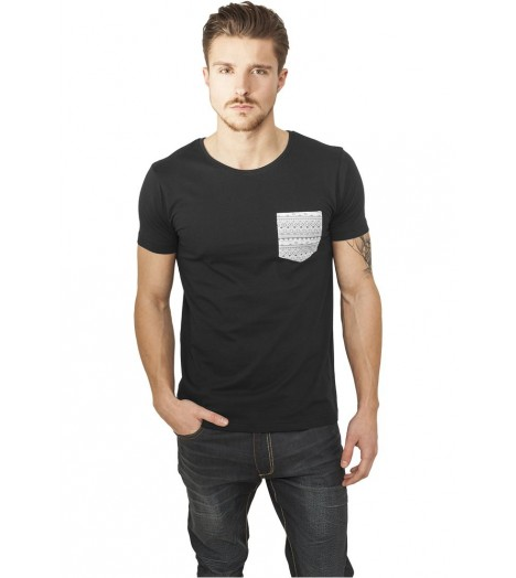 Pocket Aztec T-shirt Urban Classics Noir