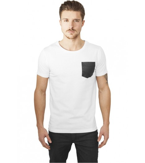 T-shirt Urban Classics Pocket Aspect Cuir Blanc