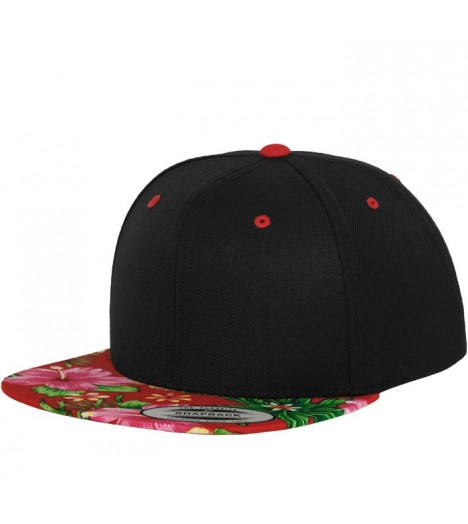 Casquette Hawaii Snapback Flexfit Hawaiian Noir - Rouge 6089HW
