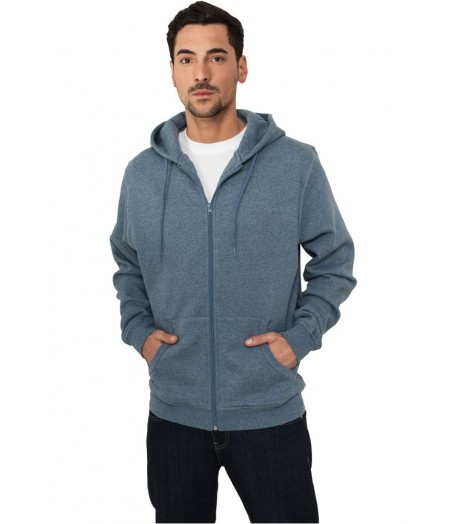 Sweat capuche Urban Classics Zip Bleu Chiné