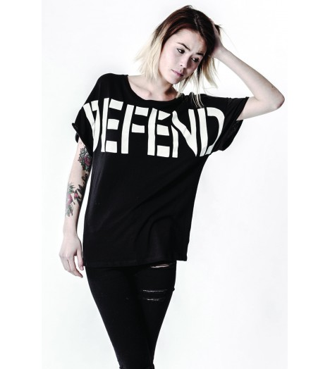 T-shirt Defend Paris Femme Tee Boy Noir
