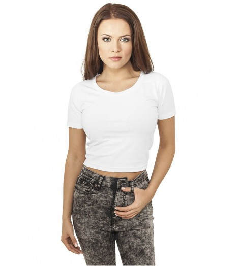 T-shirt Ladies Cropped Urban Classics Blanc
