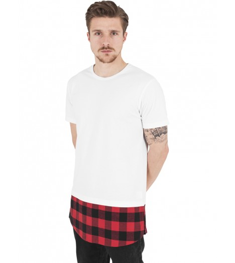 Tee-shirt Oversize Long Urban Classics Blanc Rouge Carreaux