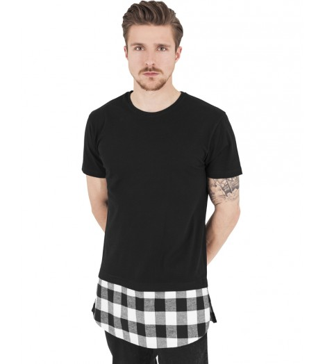 Tee-shirt Oversize Long Urban Classics Noir Blanc Carreaux