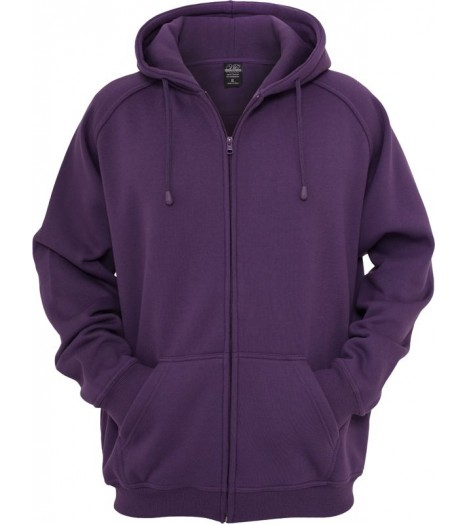 Sweat zippé URBAN CLASSICS large en molleton Prune