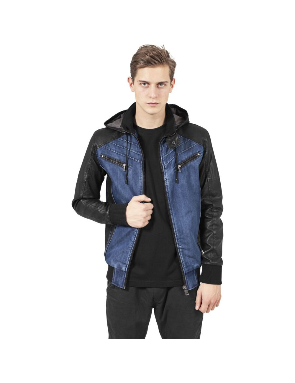 Veste denim manches simili