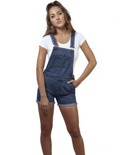 Salopette short denim stretch