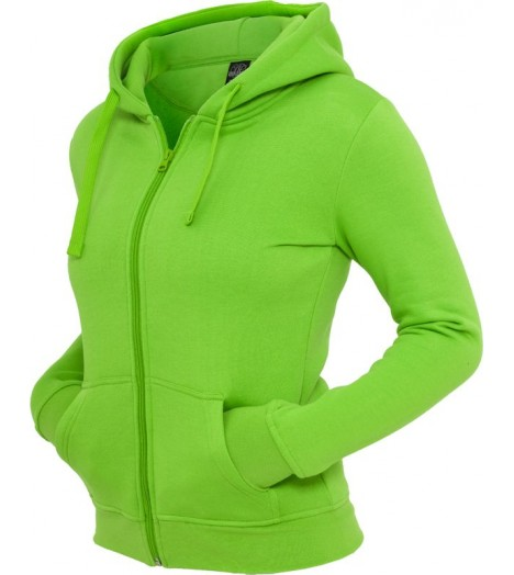 Sweat zippé URBAN CLASSICS Vert lime Basic molletonné à capuche
