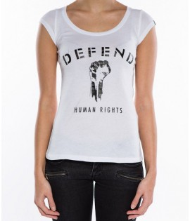 T-shirt Defend Human Rights Femme Blanc