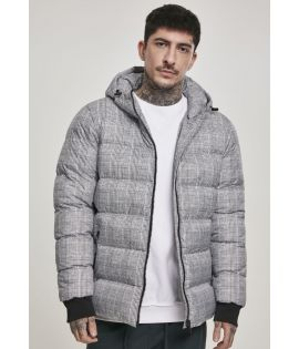 Hooded Check Puffer Jacket white/black L