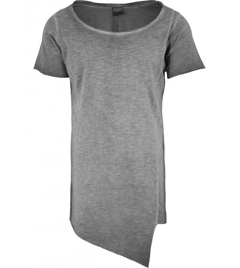 Tee-shirt Long Asymétrique Urban Classics Gris Spray Dye