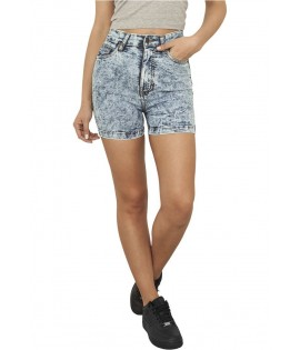 Short Taille Haute Urban Classics Denim Washed Bleu