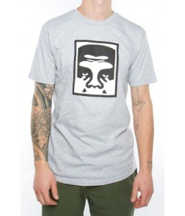 T-Shirt Obey Half Face Icon Gris