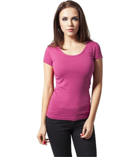 T-shirt URBAN CLASSICS Rose Fuchsia Coton Stretch à manche courte