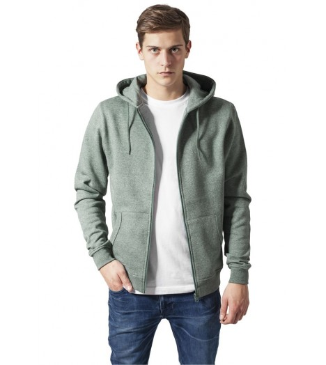 Sweat capuche Urban Classics Zip Vert Chiné