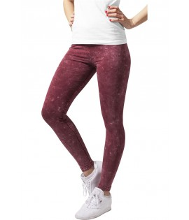 Legging Urban Classics Femme Acid Wash Bordeaux