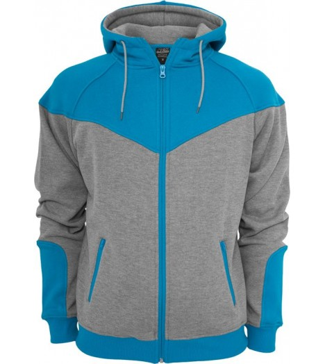 "Sweat zippé URBAN CLASSICS ""Arrow"" Gris / Turquoise"