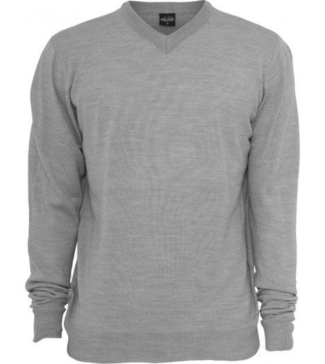 Pull col V URBAN CLASSICS toucher Cashmere Gris