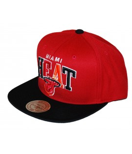 MITCHELL & NESS Snapback MIAMI HEAT Rouge / Noir Tri-Pop