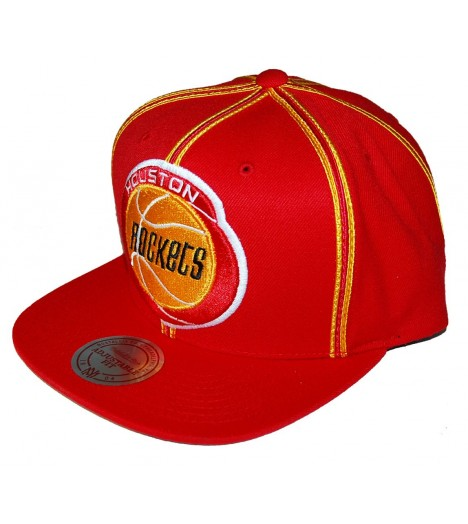 MITCHELL & NESS Snapback Houston ROCKETS Rouge / Jaune XL Logo
