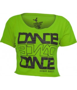 "T-shirt ample et court URBAN DANCE "" Short Danse "" Vert Lime / Noir"