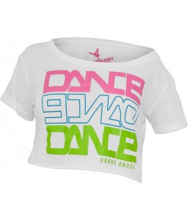 "T-shirt ample et court URBAN DANCE "" Short Danse "" Blanc / Rose / Bleu / Vert Lime"