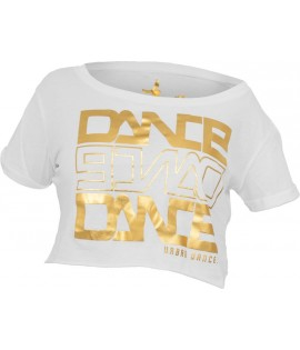 "T-shirt ample et court URBAN DANCE "" Short Danse "" Blanc / Or Aluminium"