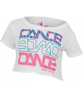 "T-shirt ample et court URBAN DANCE "" Short Danse Zebra "" Blanc / Bleu / Rose Fuchsia"