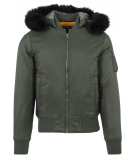 Bomber Urban Classics Olive Capuche Fourrure Synthétique