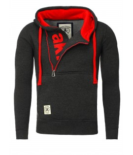 Sweat Capuche Akito Tanaka Vertical Zip Hoody Noir rouge