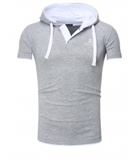 T-shirt contraste-polo Hooded- Akito Tanaka t-shirt contraste- Polo Hooded-Gris/blanc